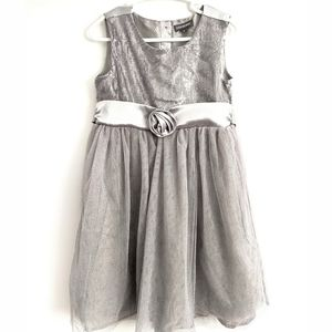 Girls silver sequin and tulle dress
